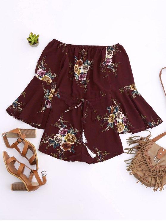 Hombro Cintura con cordón floral Romper - Vino Rojo S