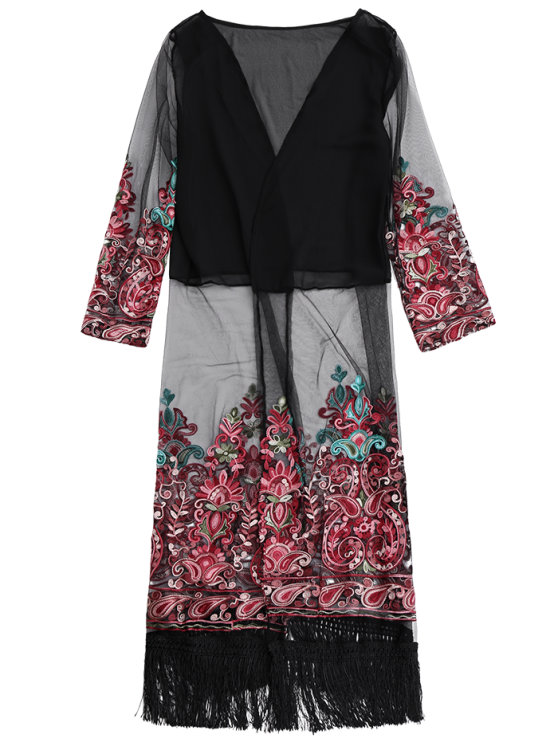 Embroidered Open Front Long Duster Coat - BLACK ONE SIZE Mobile