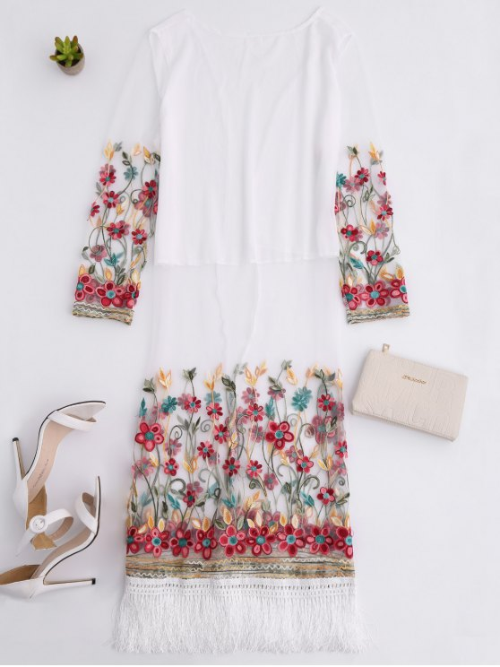 Embroidered Tassel Open Front Long Duster Coat - WHITE ONE SIZE Mobile