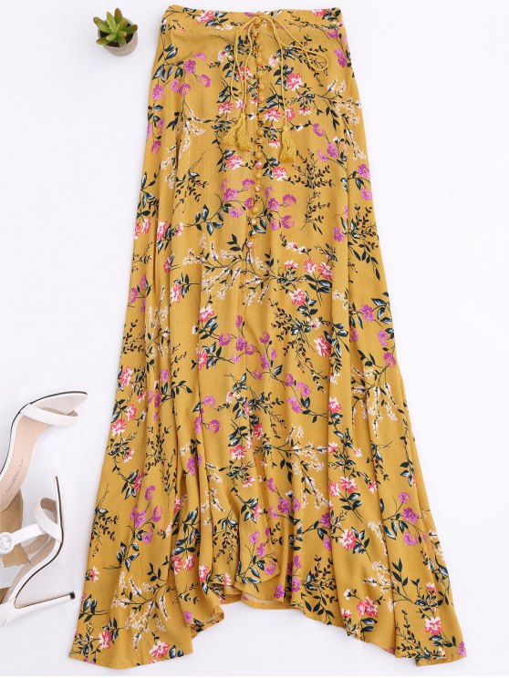 Front Slit Tiny Floral Maxi Skirt - YELLOW M Mobile