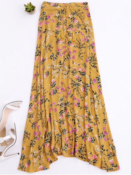 women Front Slit Tiny Floral Maxi Skirt - YELLOW M