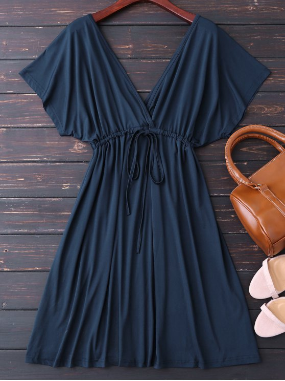 Plunge V Back Drawstring Dress - PURPLISH BLUE XL Mobile
