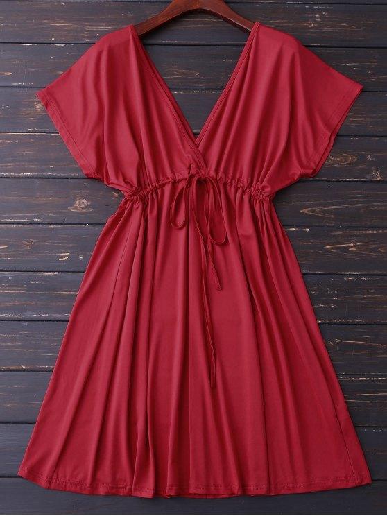 fancy Plunge V Back Drawstring Dress - RED L