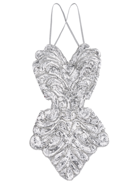 Beaded Cross Back Sequins Teddies - SILVER GRAY ONE SIZE Mobile