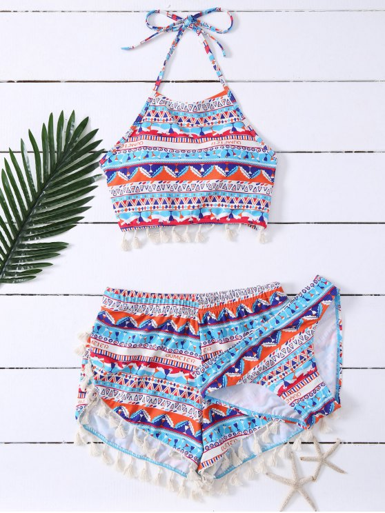 outfits Tassel Halter Printed Bathing Suit - BLUE M