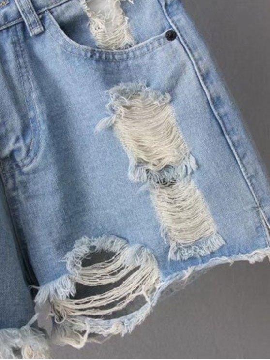 Ripped Denim Cutoffs Shorts - LIGHT BLUE M Mobile