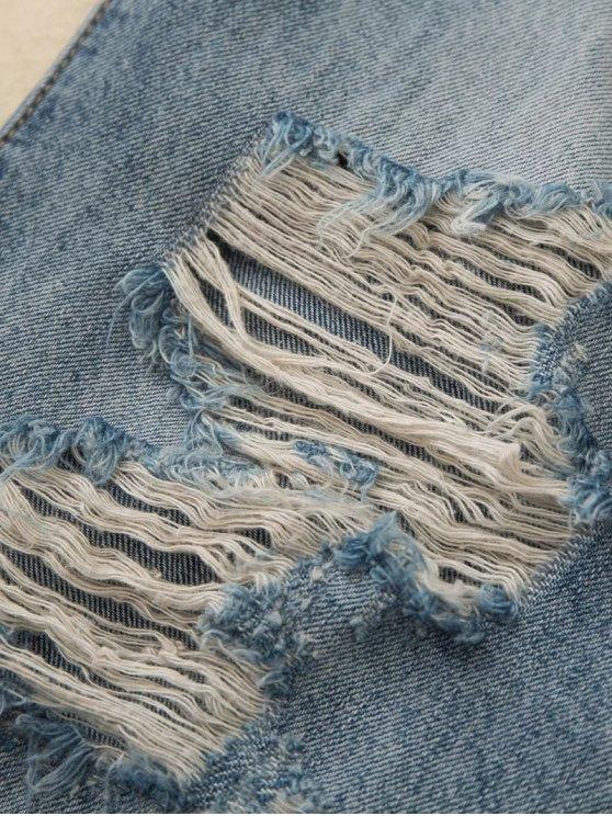 Distressed Boyfriend Jeans - BLUE L Mobile