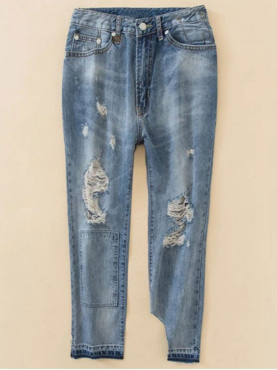 Distressed Boyfriend Jeans - BLUE XS Mobile