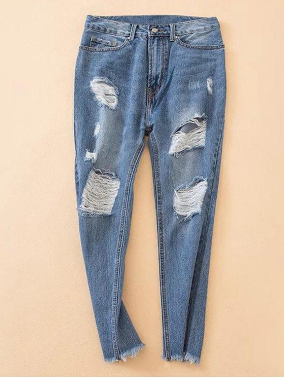 Deshilachados en dificultades Hem Jeans cónicos - Denim Blue L