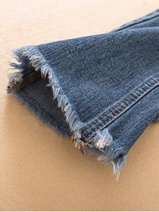 Distressed Frayed Hem Tapered Jeans - DENIM BLUE L Mobile