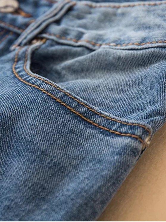 Distressed Frayed Hem Tapered Jeans - DENIM BLUE S Mobile