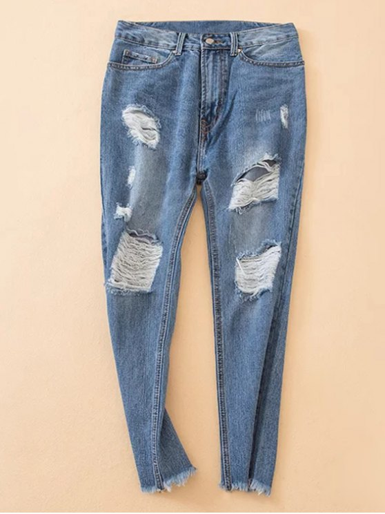 lady Distressed Frayed Hem Tapered Jeans - DENIM BLUE XS