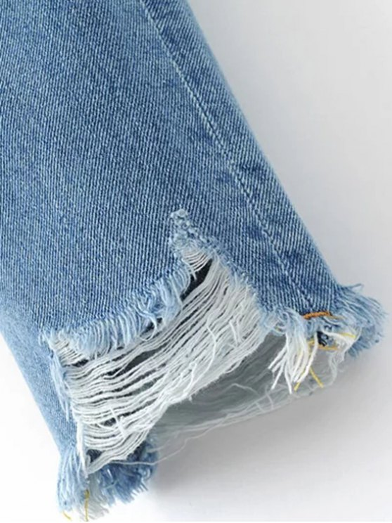 Frayed Ripped Tapered Jeans - LIGHT BLUE S Mobile