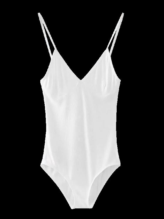 buy Cami Plunging Neck Bodysuit - WHITE ONE SIZE