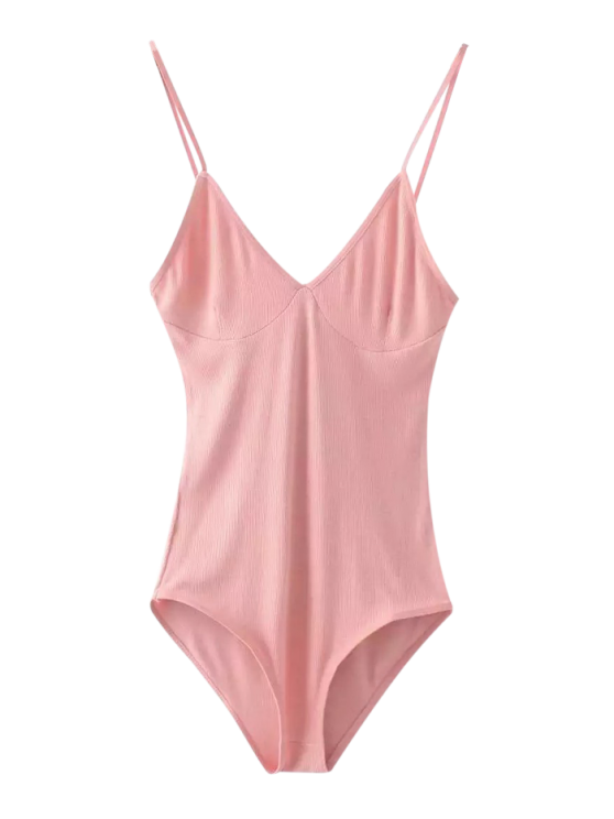 women Cami Plunging Neck Bodysuit - PINK ONE SIZE