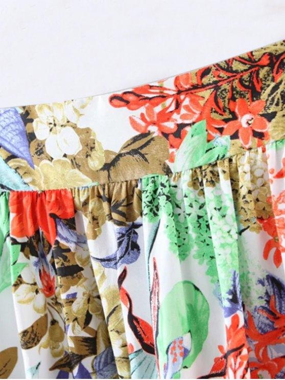 Flower A-Line Knee Length Skirt - RED M Mobile