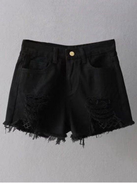 Mallas Insertar vaqueros rasgados Cutoff Shorts - Negro XL
