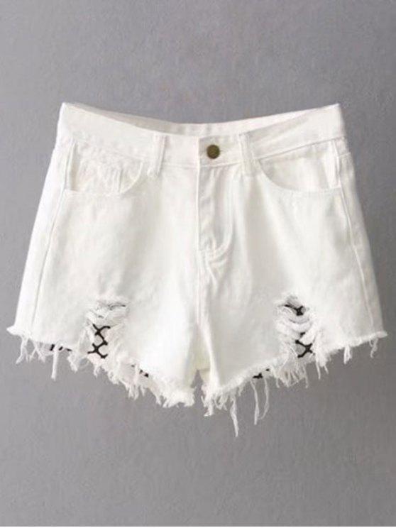 best Fishnet Insert Ripped Denim Cutoff Shorts - WHITE S