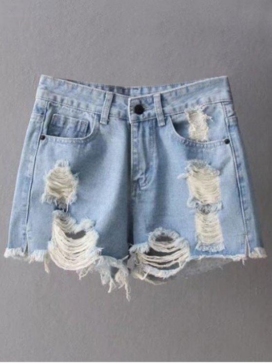 online Ripped Denim Cutoffs Shorts - LIGHT BLUE L