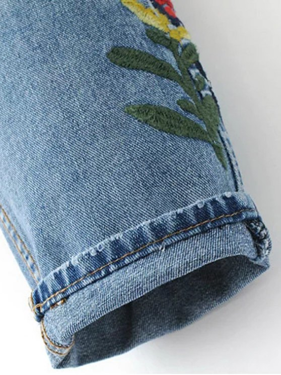 Embroidered Flower Tapered Jeans - LIGHT BLUE L Mobile