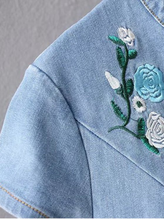 Cheongsam Embroidered Floral Denim Dress - LIGHT BLUE M Mobile