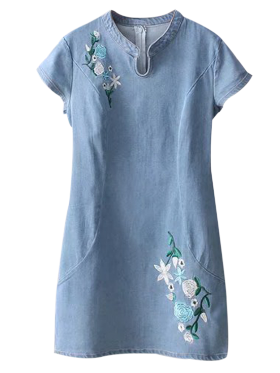 ladies Cheongsam Embroidered Floral Denim Dress - LIGHT BLUE M