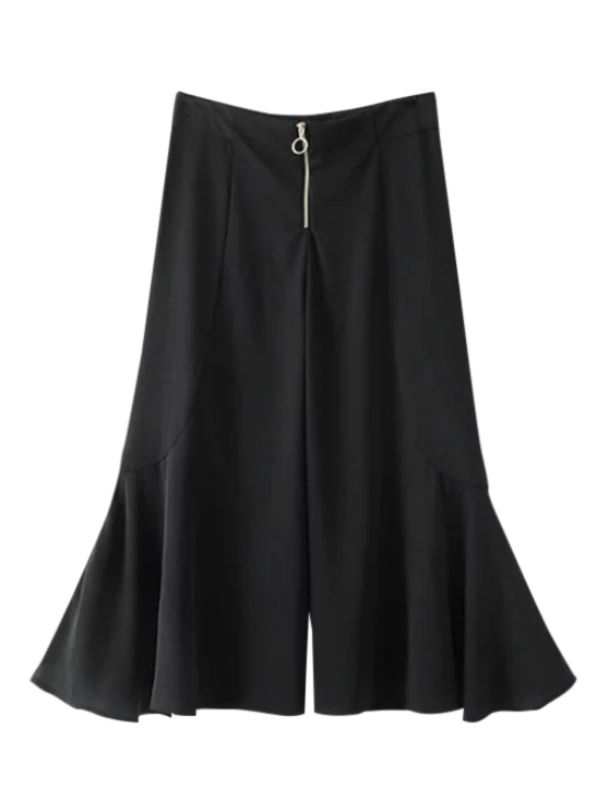buy Ruffle Wide Leg Capri Pants - BLACK S