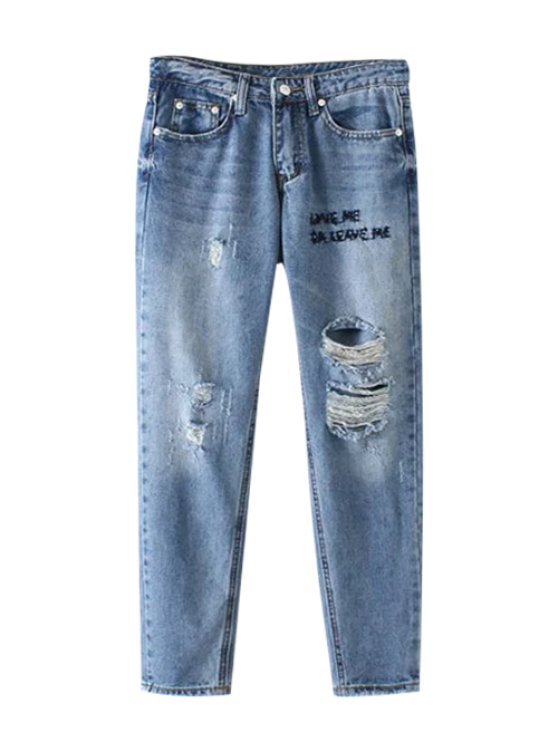 Letter Embroidered Ripped Trapeze Jeans - LIGHT BLUE XL Mobile