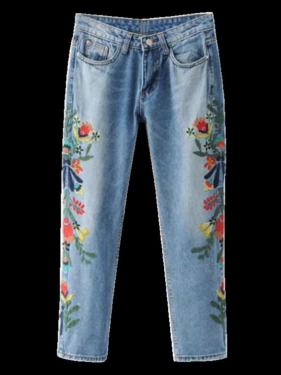 Bordadas fl Jeans cónicos - Azul claro M