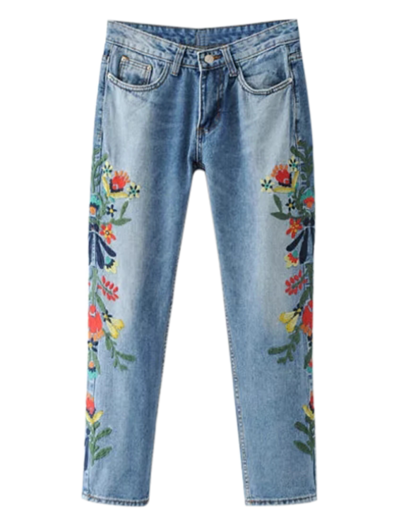 ladies Embroidered Flower Tapered Jeans - LIGHT BLUE S
