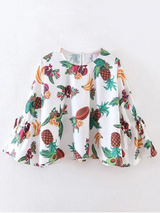 women's Fruit Print Flare Sleeve Blouse - WHITE M