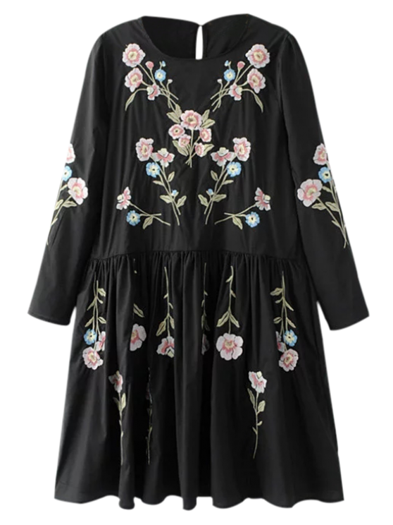 shops Floral Flowing Tunic Dress and Tank Top - BLACK S