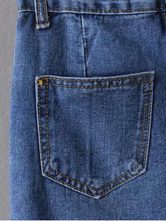 Asymmetric Frayed Hem Distressed Denim Skirt - DEEP BLUE S Mobile