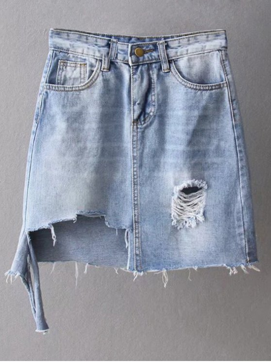Hem asimétrica raído apenada dril de algodón de la falda - Azul Claro S