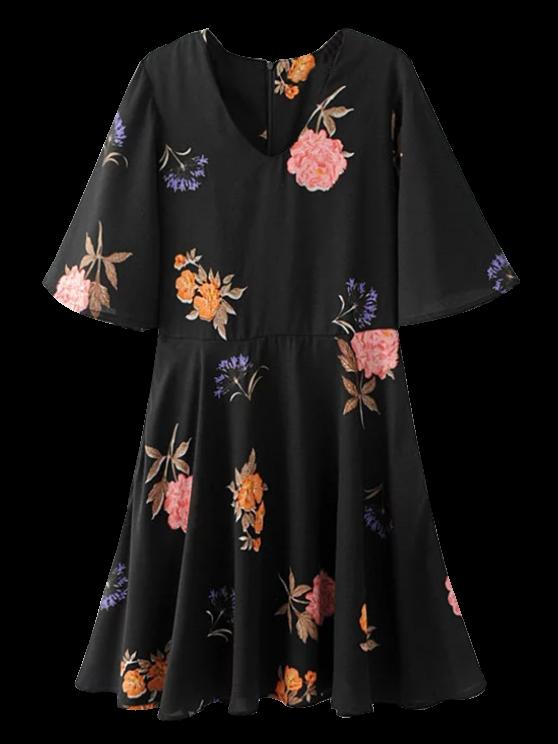 affordable Floral Flippy Skater Dress - BLACK S