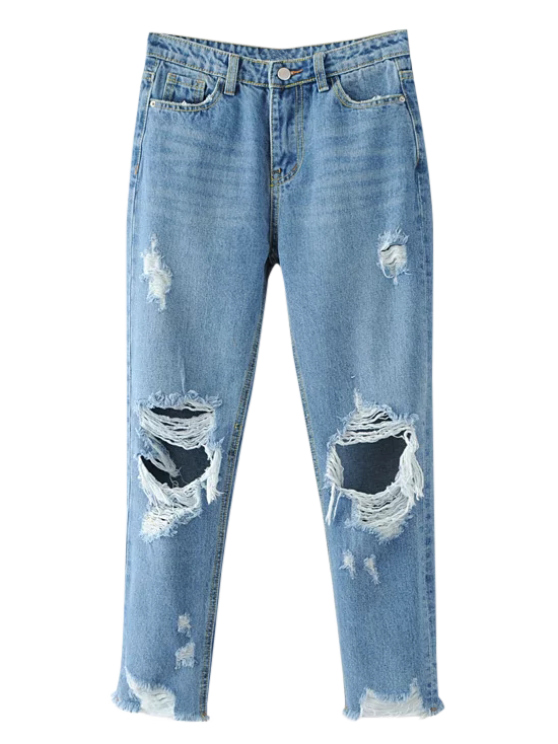 new Frayed Ripped Tapered Jeans - LIGHT BLUE S