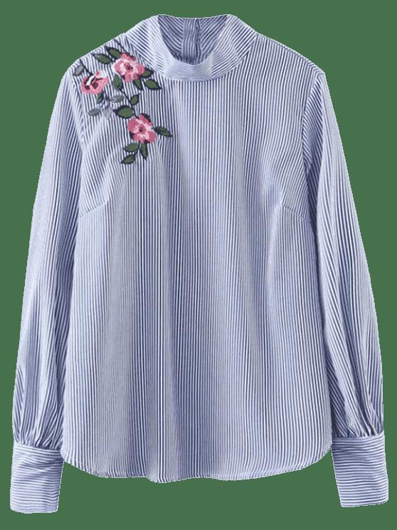 unique Floral Striped Pullover Shirt - STRIPE S
