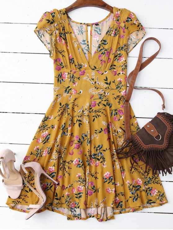 robe jaune et droite à col plongeant en floral  et à manches courtes et en mousseline de soie - Jaune M