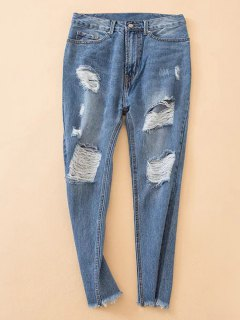 Distressed Frayed Hem Tapered Jeans - Denim Blue S