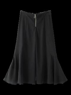 Ruffle Wide Leg Capri Pants - Black S