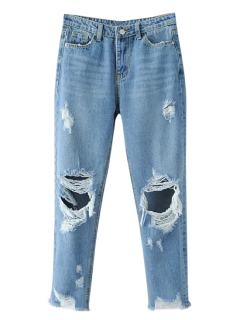 Frayed Ripped Tapered Jeans - Light Blue M