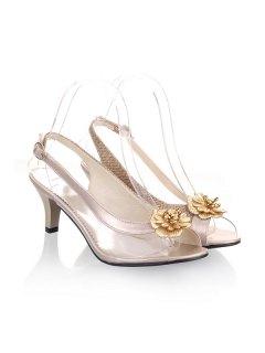 Slingback Transparent Plastic Sandals - Light Gold 38