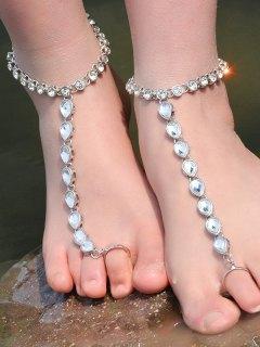 ONE PIECE Rhinestoned Teardrop Anklet - Silver