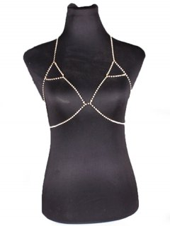 Rhinestoned Triangle Bra Body Chain - Golden