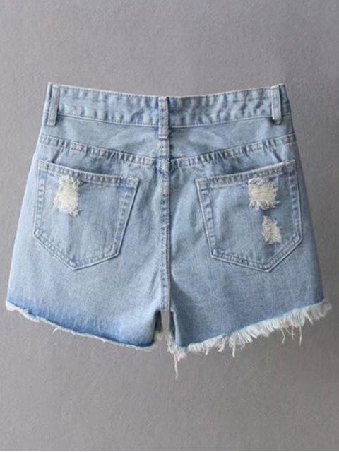 fancy Ripped Denim Cutoffs Shorts - LIGHT BLUE M Mobile