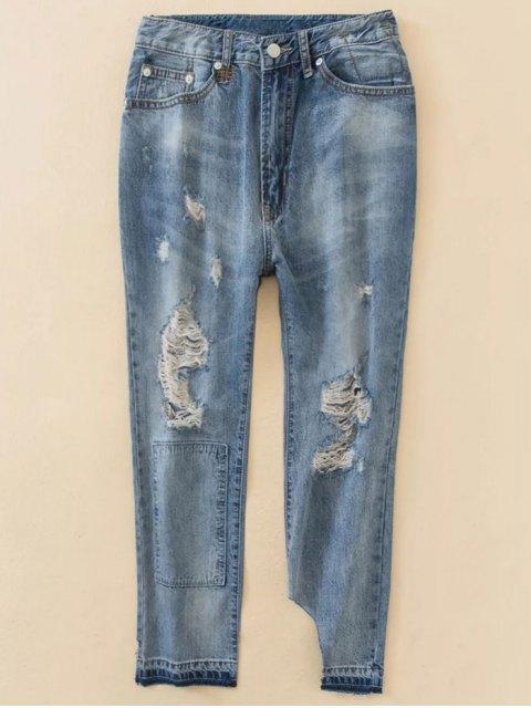 sale Distressed Boyfriend Jeans - BLUE L Mobile