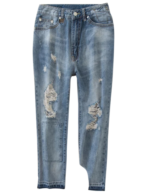 buy Distressed Boyfriend Jeans - BLUE S Mobile