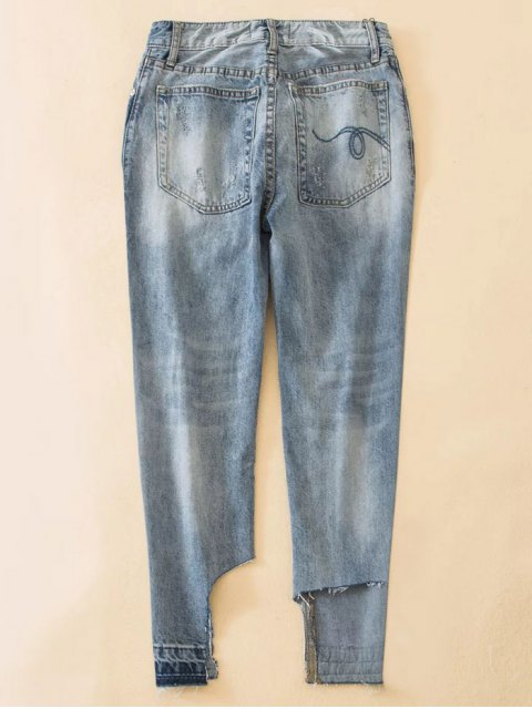 womens Distressed Boyfriend Jeans - BLUE XS Mobile