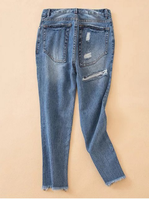 lady Distressed Frayed Hem Tapered Jeans - DENIM BLUE XS Mobile