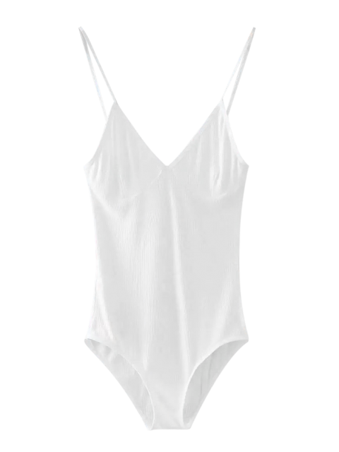 buy Cami Plunging Neck Bodysuit - WHITE ONE SIZE Mobile